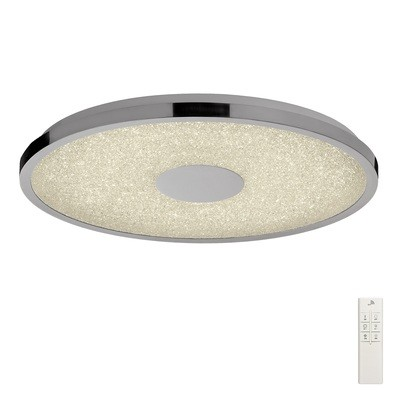 Centara Flush 48cm Round 40W LED 3000-6500K Tuneable, 3200lm, Remote Control Chrome/ Acrylic, 3yrs Warranty