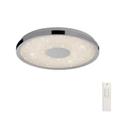Centara Flush 38cm Round 18W LED 3000-6500K Tuneable, 1680lm, Remote Control Chrome/ Acrylic, 3yrs Warranty
