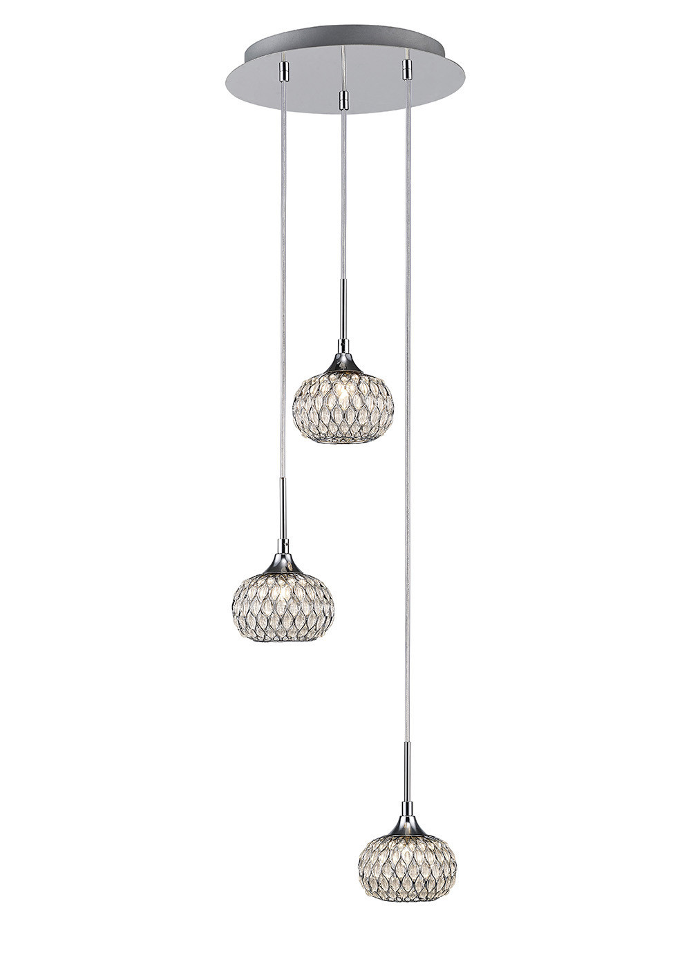 Chelsie Pendant 3 Light Round Polished Chrome/Clear Glass