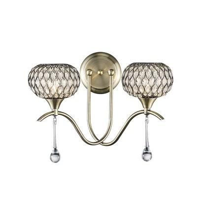 Chelsie Wall Lamp 2 Light Antique Brass/Clear Glass