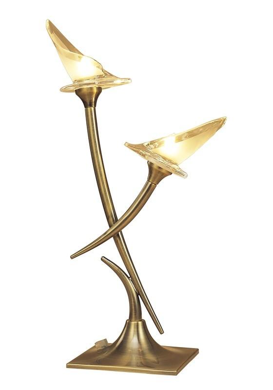 Flavia Wall Lamp 2 Light G9, Antique Brass