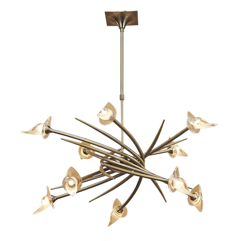 Flavia Pendant Up-Down Round 10 Light G9, Antique Brass