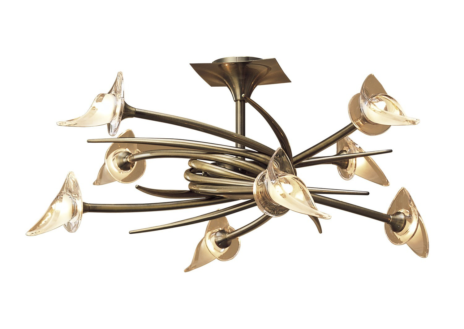 Flavia Semi Ceiling Up-Down Round 8 Light G9, Antique Brass
