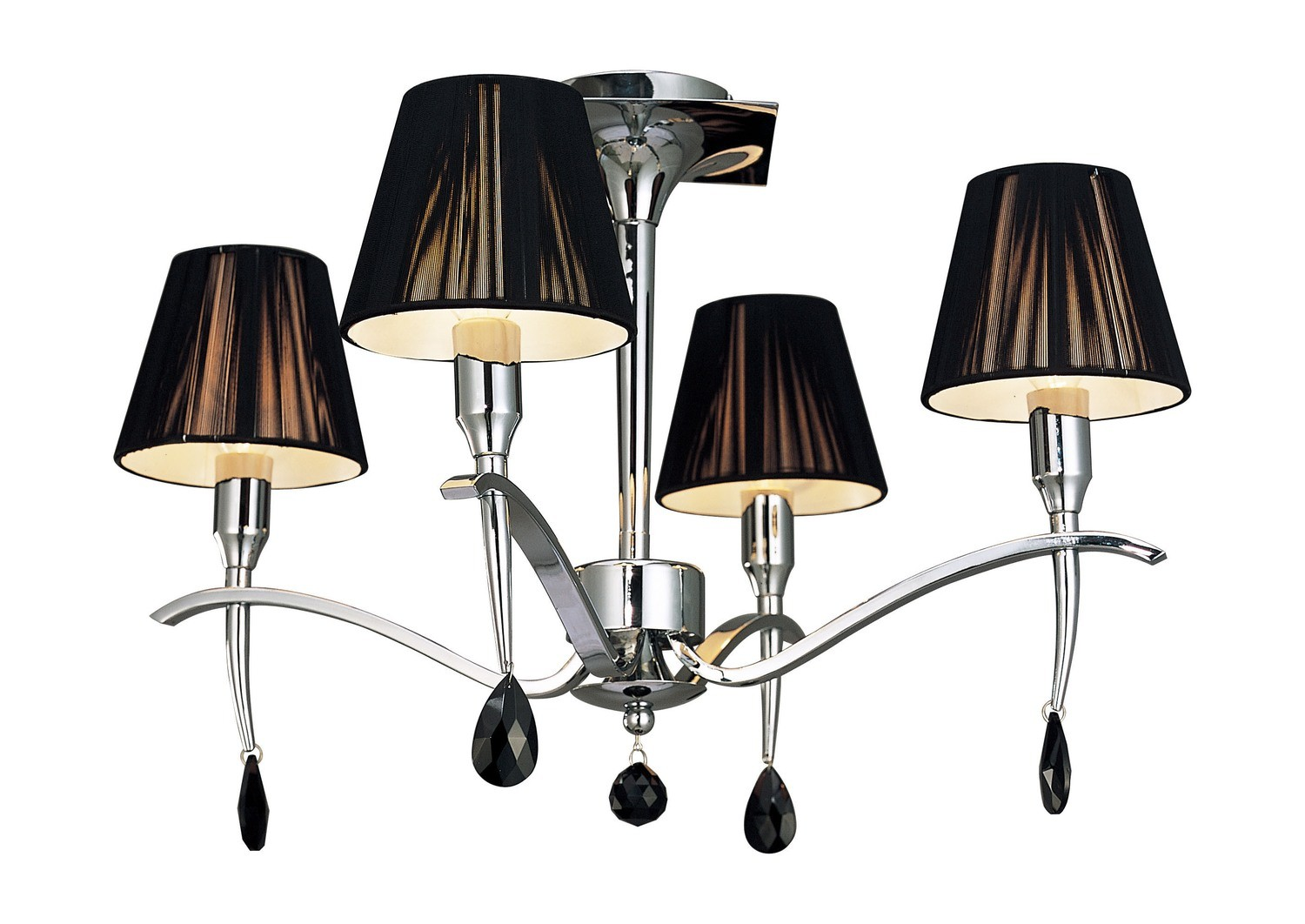 Siena Semi Ceiling Round 4 Light E14, Polished Chrome With Black Shades And Black Crystal