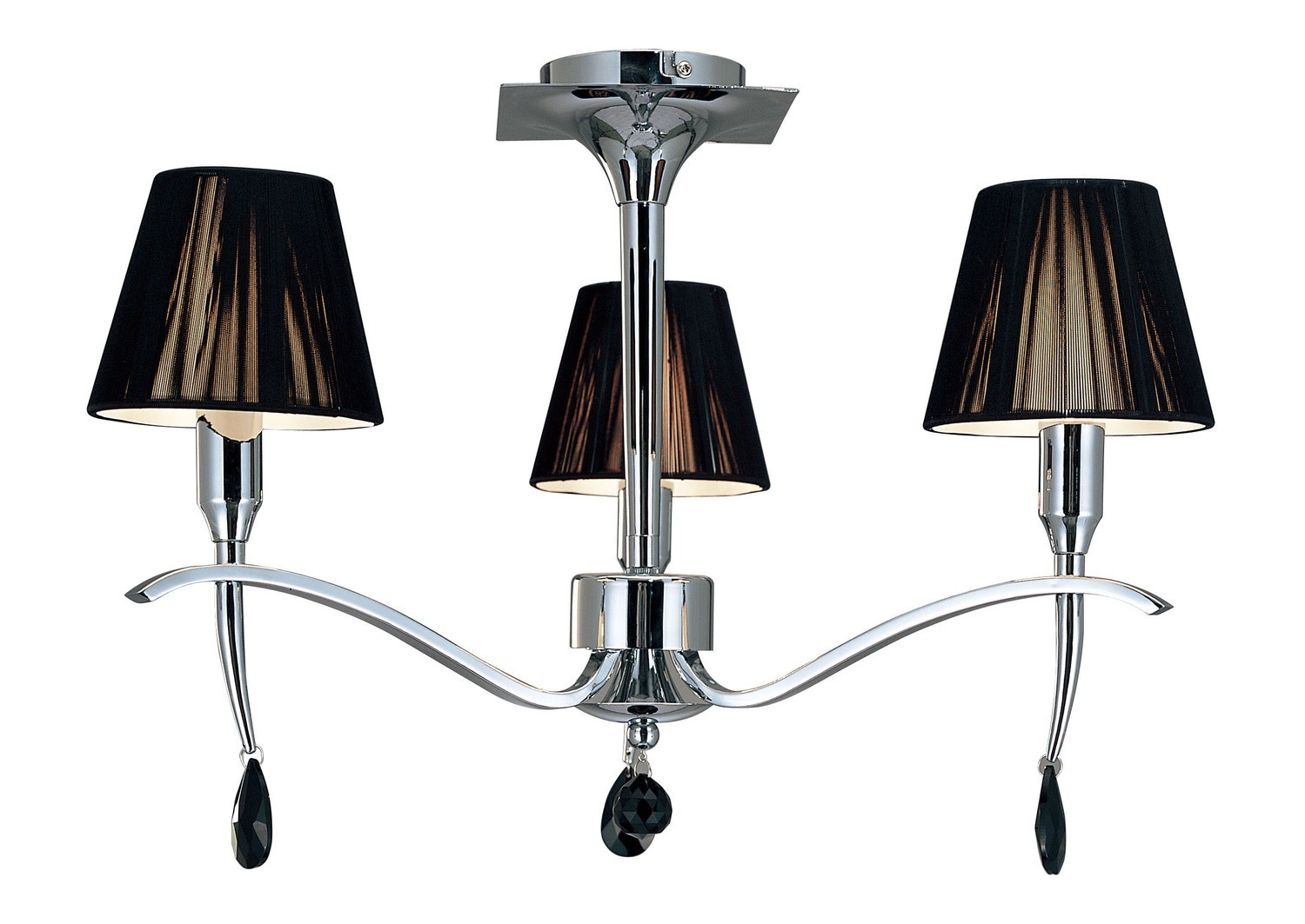 Siena Semi Ceiling Round 3 Light E14, Polished Chrome With Black Shades And Black Crystal