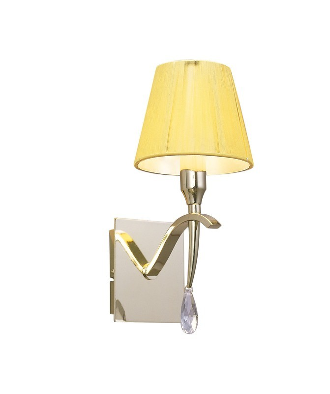 Siena Wall Lamp Switched 1 Light E14, Polished Brass With Amber Cream Shade And Clear Crystal