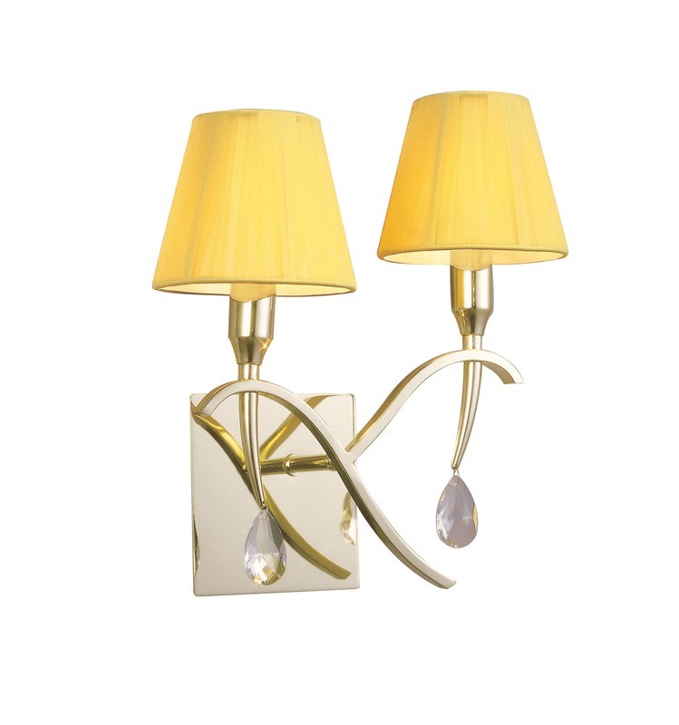Siena Wall Lamp Switched 2 Light E14, Polished Brass With Amber Cream Shades And Clear Crystal