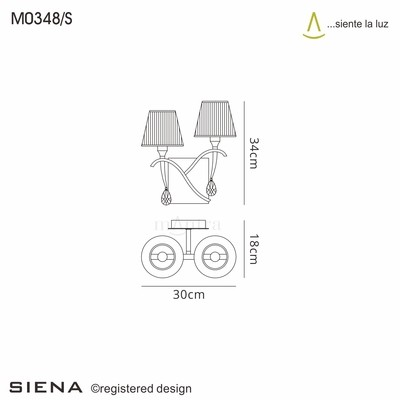 Siena Wall Lamp Switched 2 Light E14, Polished Chrome With Black Shades And Black Crystal