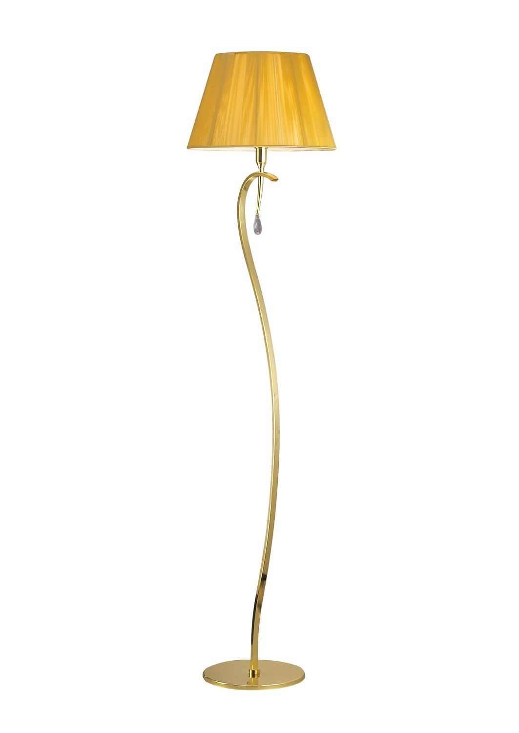 Siena Floor Lamp 1 Light E27, Polished Brass With Amber Cream Shade And Clear Crystal