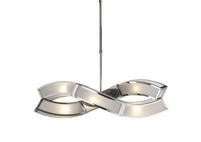 Duna E27 Pendant 2 Arm 6 Light E27, Polished Chrome/White Acrylic
