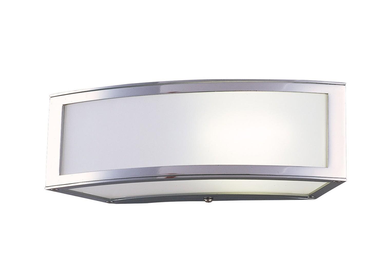 Duna E27 Wall Lamp 1 Light E27, Polished Chrome/White Acrylic