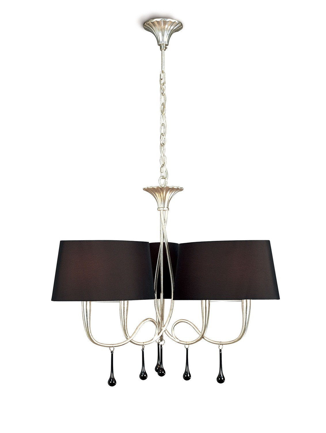 Paola Pendant 3 Arm 6 Light E14, Silver Painted With Black Shades & Black Glass Droplets