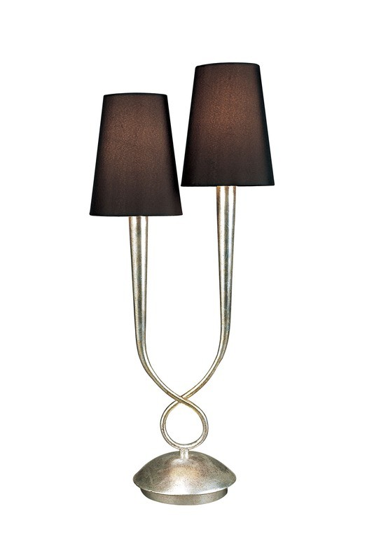 Paola Table Lamp 2 Light E14, Silver Painted With Black Shades