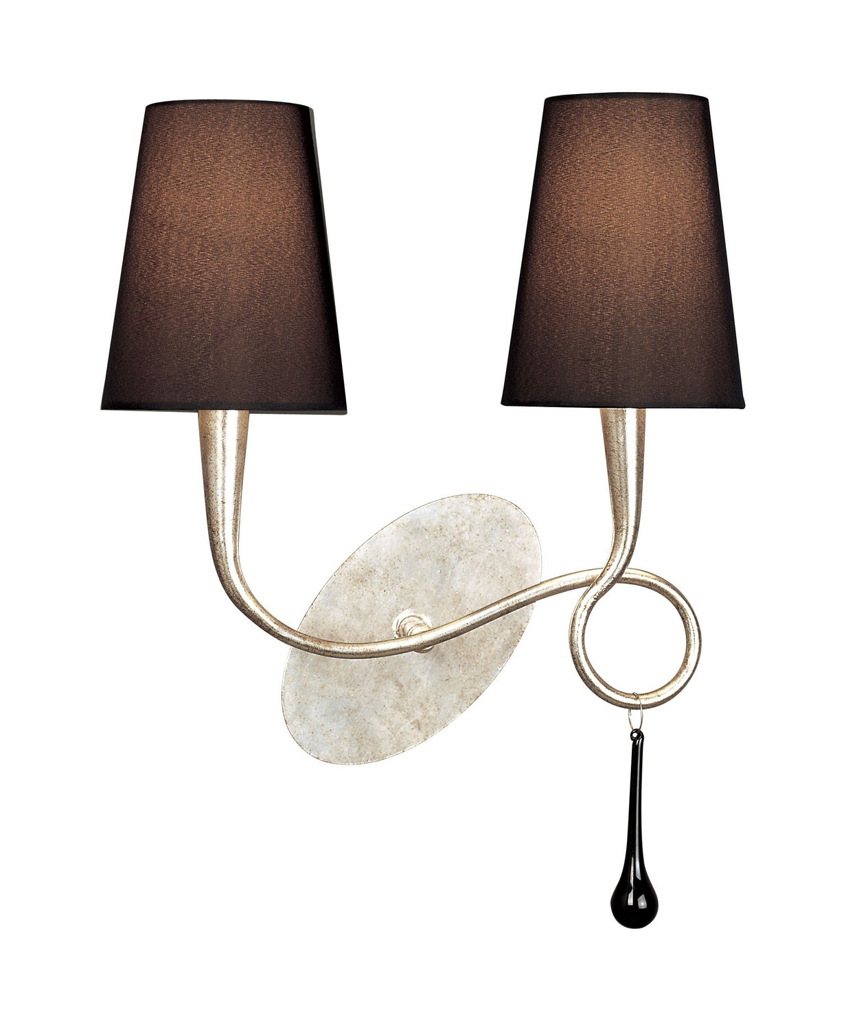 Paola Wall Lamp Switched 2 Light E14, Silver Painted With Black Shades & Black Glass Droplets