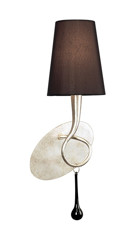 Paola Wall Lamp Switched 1 Light E14, Silver Painted With Black Shade & Black Glass Droplets