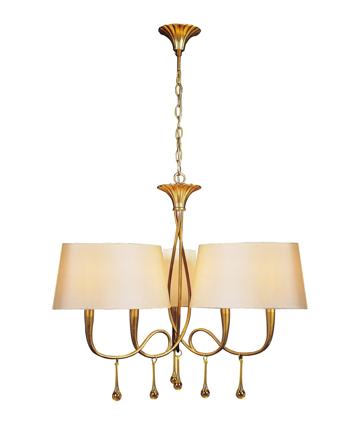 Paola Pendant 3 Arm 6 Light E14, Gold Painted With Cream Shades & Amber Glass Droplets