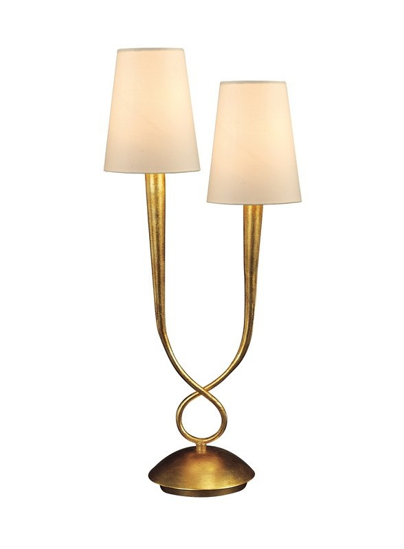 Paola Table Lamp 2 Light E14, Gold Painted With Cream Shades