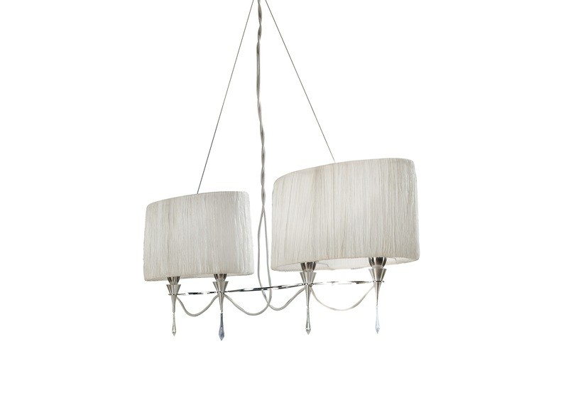 Lucca Pendant 2 Arm 4 Light E27 Line, Polished Chrome With White Shades & Clear Crystal