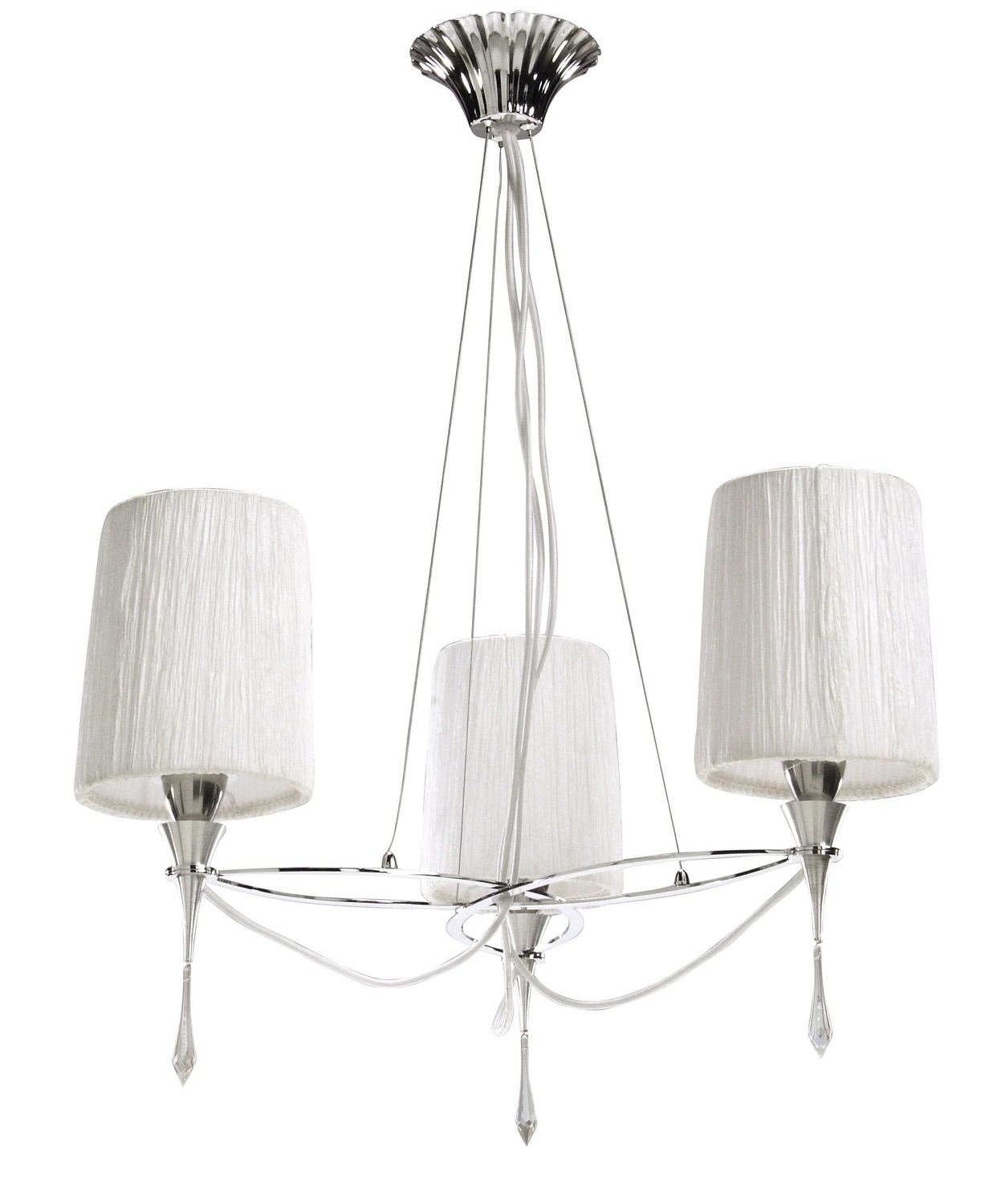Lucca Pendant 3 Light E27, Polished Chrome With White Shades & Clear Crystal