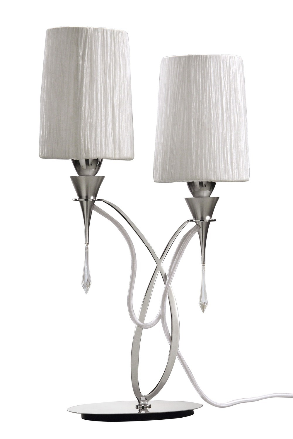 Lucca Table Lamp 2 Light E27, Polished Chrome With White Shades & Clear Crystal