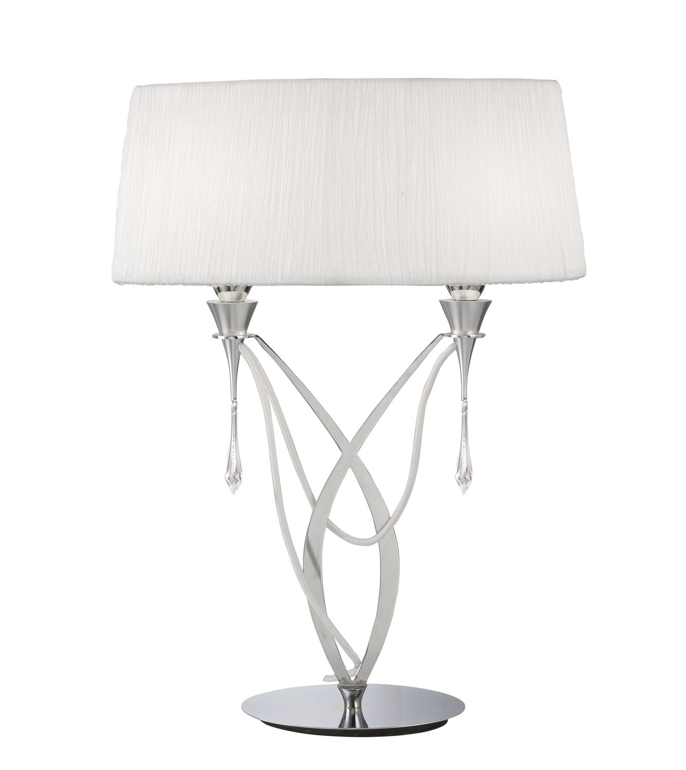 Lucca Table Lamp 2 Light E27 Large, Polished Chrome With White Shade & Clear Crystal