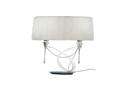 Lucca Table Lamp 2 Light E27 Small, Polished Chrome With White Shade & Clear Crystal