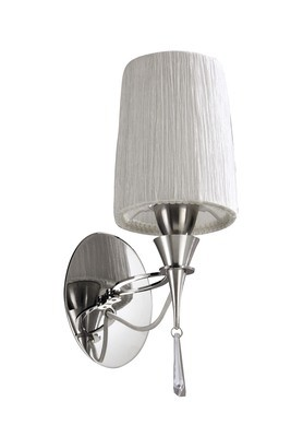 Lucca Wall Lamp Switched 1 Light E27, Polished Chrome With White Shade & Clear Crystal