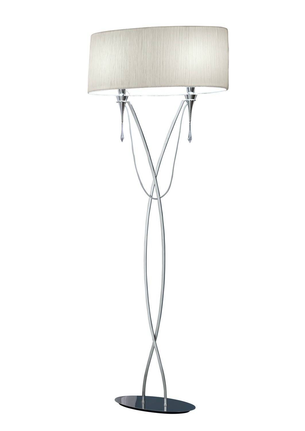 Lucca Floor Lamp 2 Light E27, Polished Chrome With White Shade & Clear Crystal