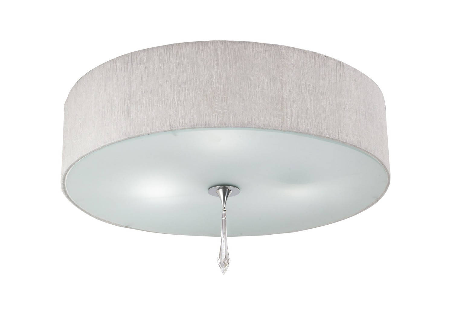 Lucca Ceiling 3 Light E27, Polished Chrome With White Shade & Clear Crystal