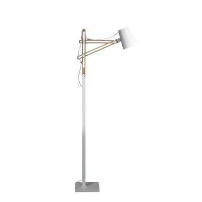 Looker Floor Lamp 1 Light E27 , Matt White/Beech