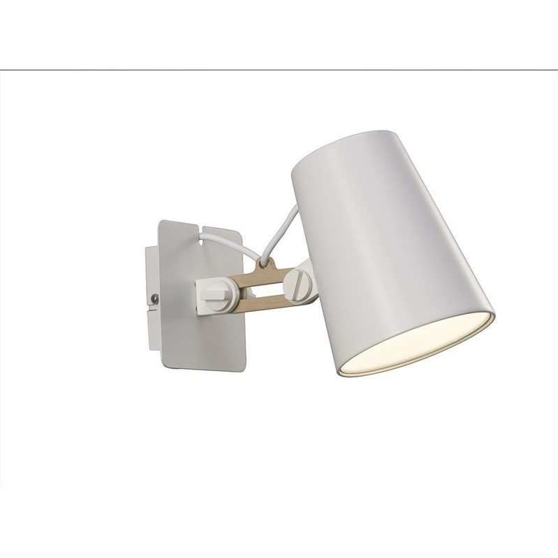 Looker Wall Lamp Switched 1 Light E27 Single Arm, Matt White/Beech
