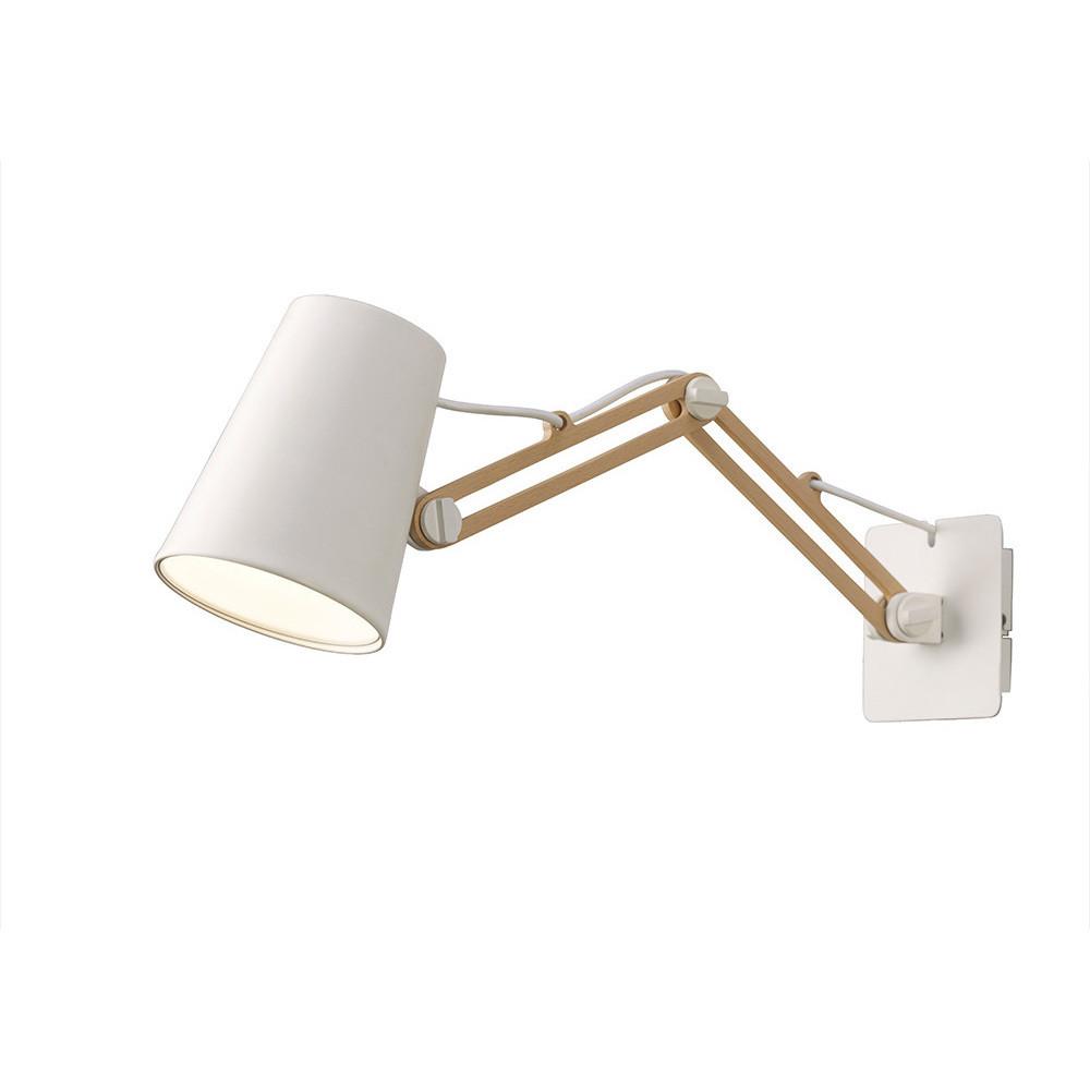 Looker Wall Lamp Switched 1 Light E27 Double Arm, Matt White/Beech