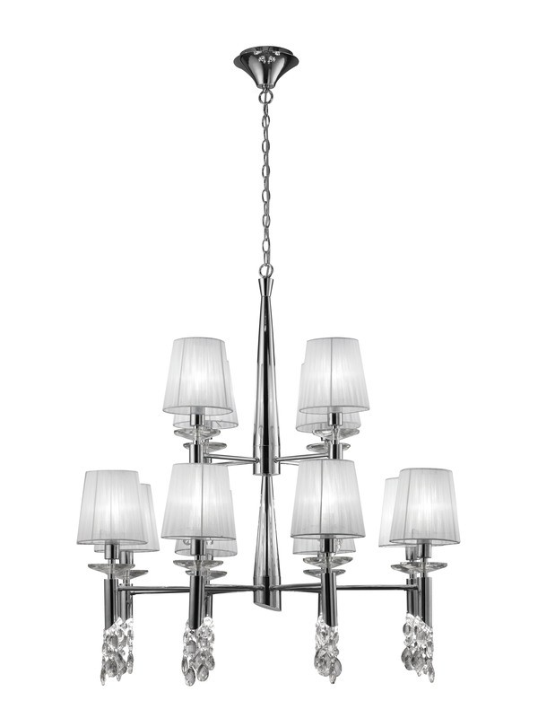 Tiffany Pendant 2 Tier 12+12 Light E14+G9, Polished Chrome With White Shades & Clear Crystal