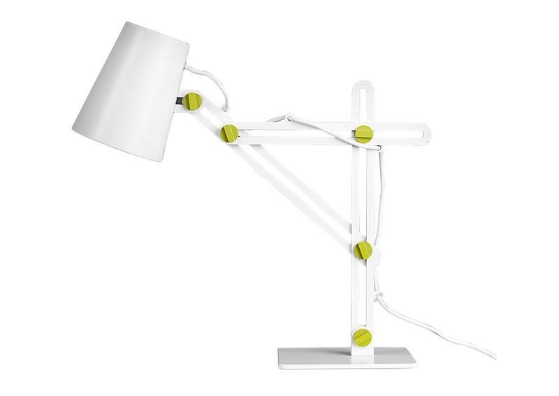 Looker Table Lamp 1 Light E27, Matt White/Green