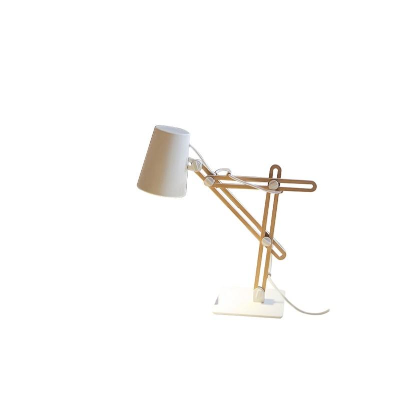 Looker Table Lamp 1 Light E27, Matt White/Beech