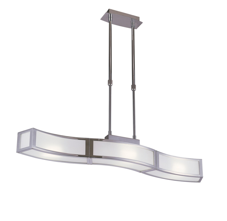 Duna GU10 Pendant 3 Light L1/SGU10 Bar, Polished Chrome/White Acrylic