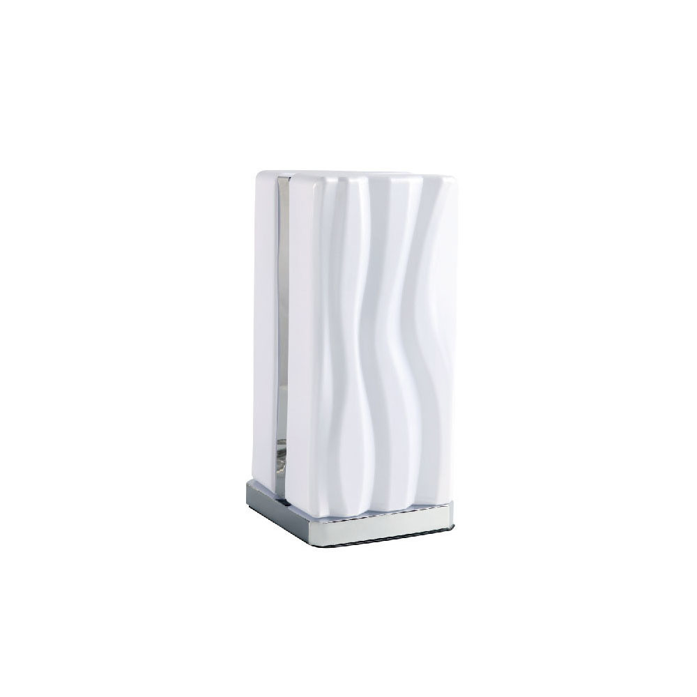 Arena Table Lamp 8W LED White IP20 3000K, 1080lm, Polished Chrome/White Acrylic, 3yrs Warranty