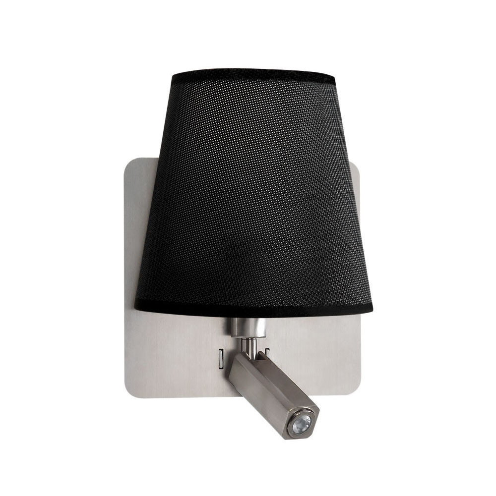 Bahia Wall Lamp With Large Back Plate 1 Light E27 + Reading Light 3W LED With Black Shade Satin Nickel 4000K, 200lm,, 3yrs Warranty