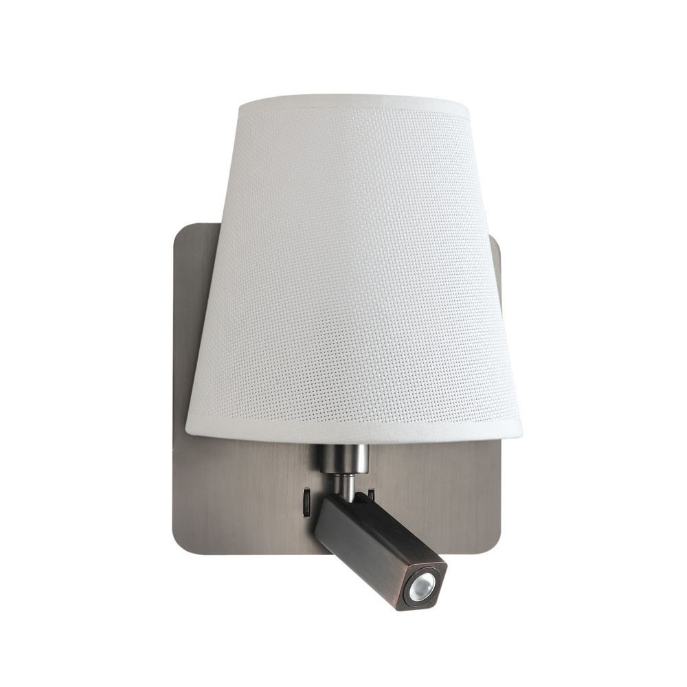 Bahia Wall Lamp With Large Back Plate 1 Light E27 + Reading Light 3W LED With White Shade Satin Nickel 4000K, 200lm,, 3yrs Warranty