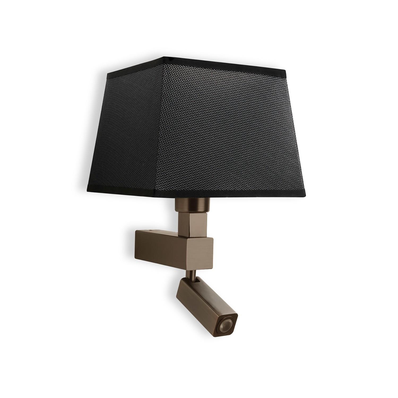 Bahia Wall Lamp 1 Light With black square Shade E27 + Reading Light 3W LED Bronze 4000K, 200lm