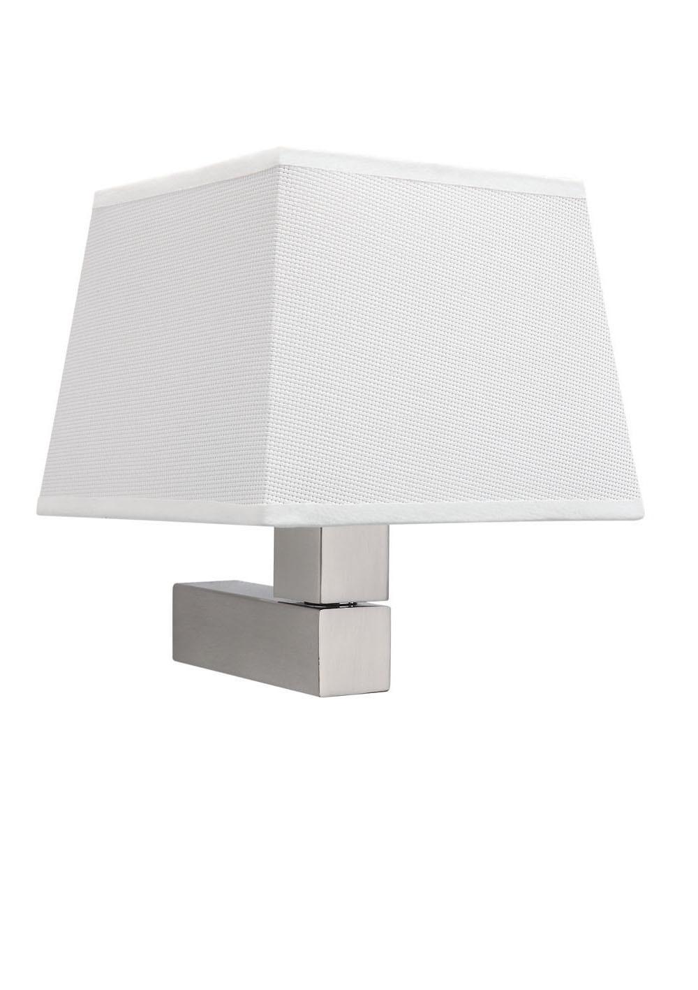 Bahia Wall Lamp with square white Fabric shade 1 Light E27 Satin Nickel