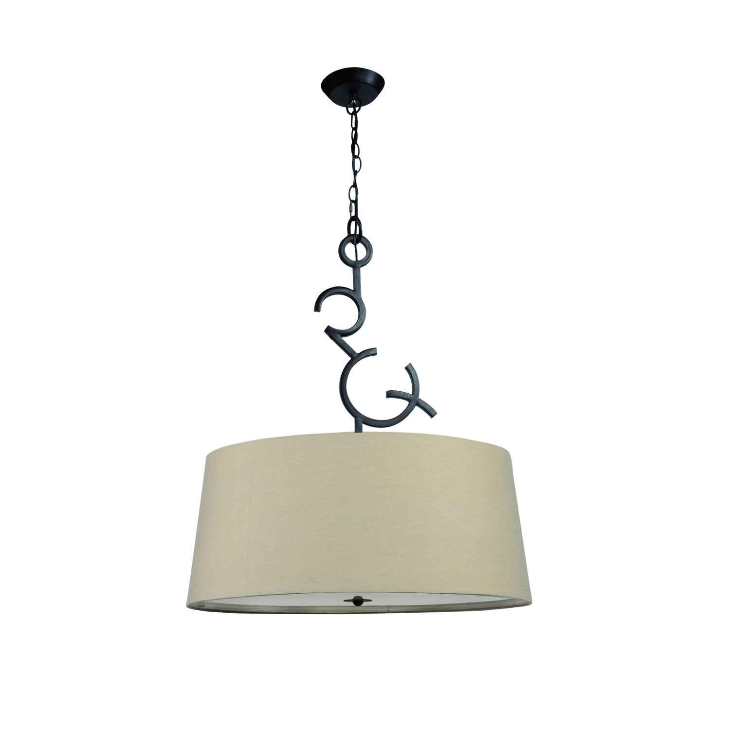 Argi Pendant 3 Light E27 Round With Taupe Shades Brown Oxide