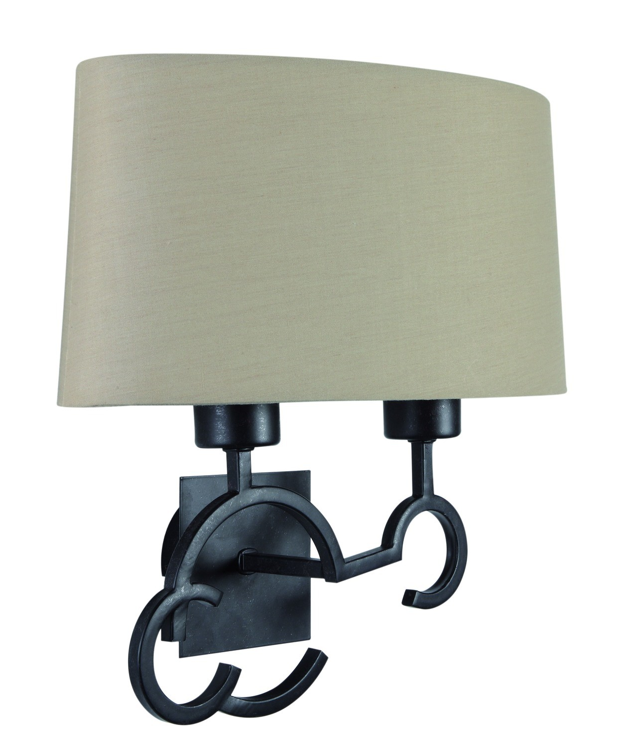 Argi Wall Lamp 2 Light E27 With Taupe Shade Brown Oxide