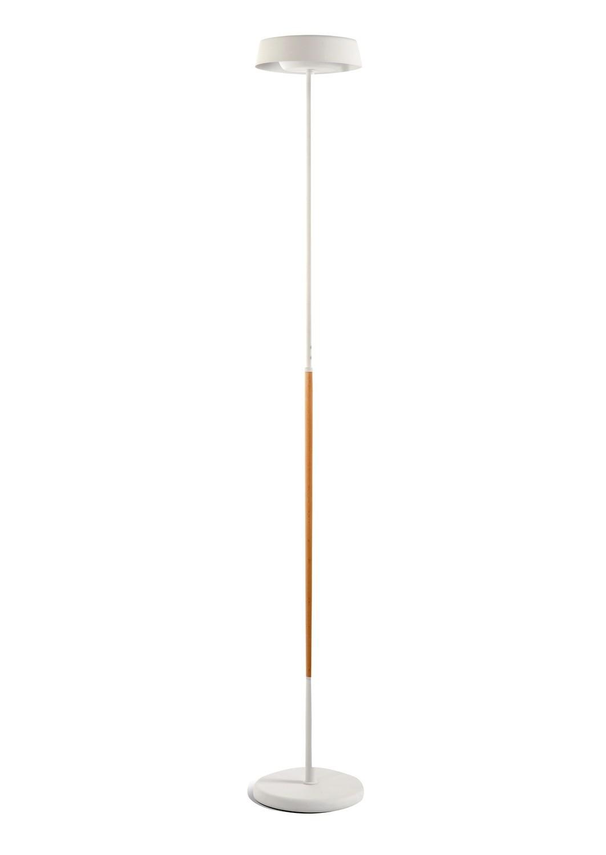 Noa Floor Lamp 2 Light 21W Down 9W Up LED 3000K, 3000lm, Matt White/Beech