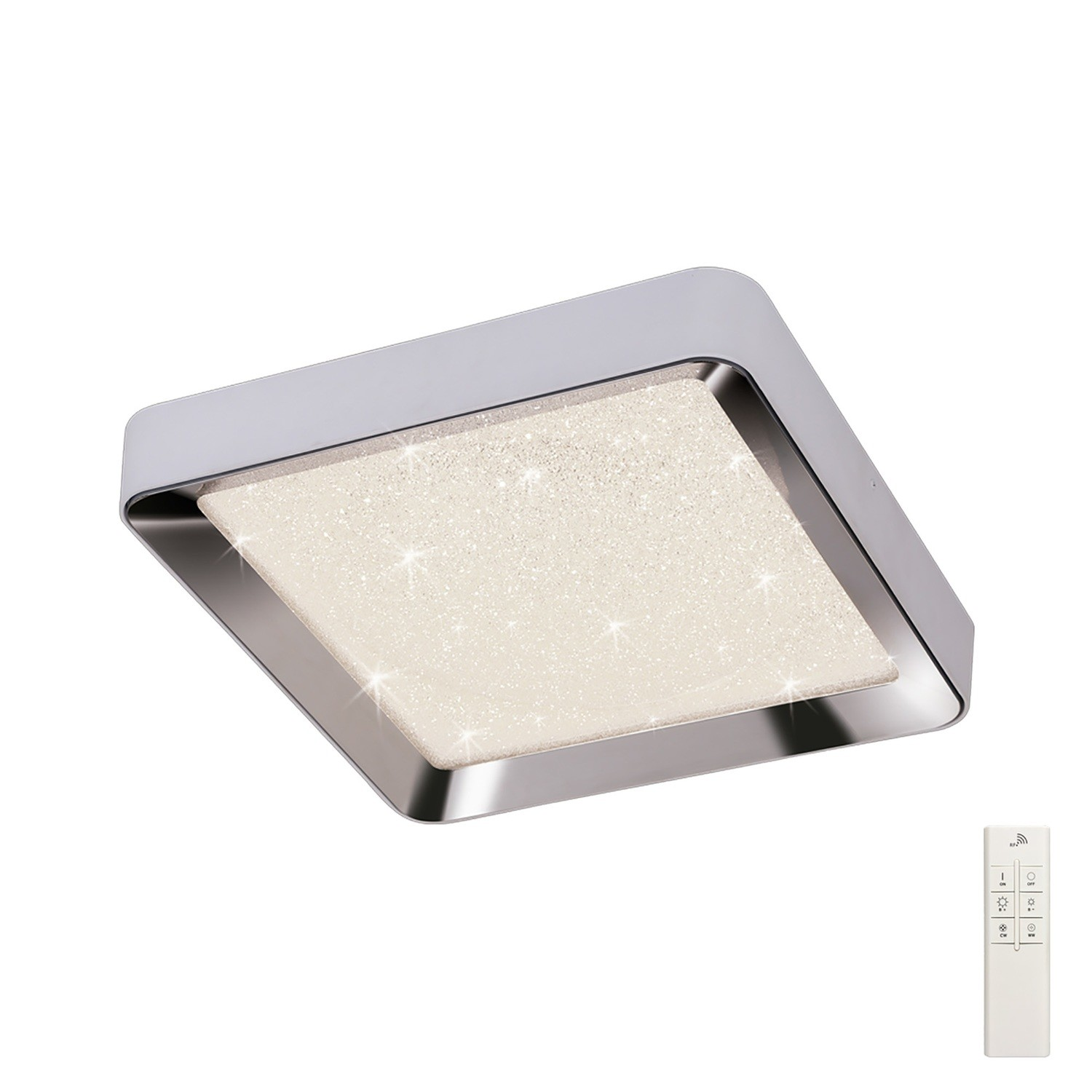 Male Flush 65cm Square 40W LED 3000-6500K Tuneable, 3200lm, Remote Control Chrome/ Acrylic, 3yrs Warranty
