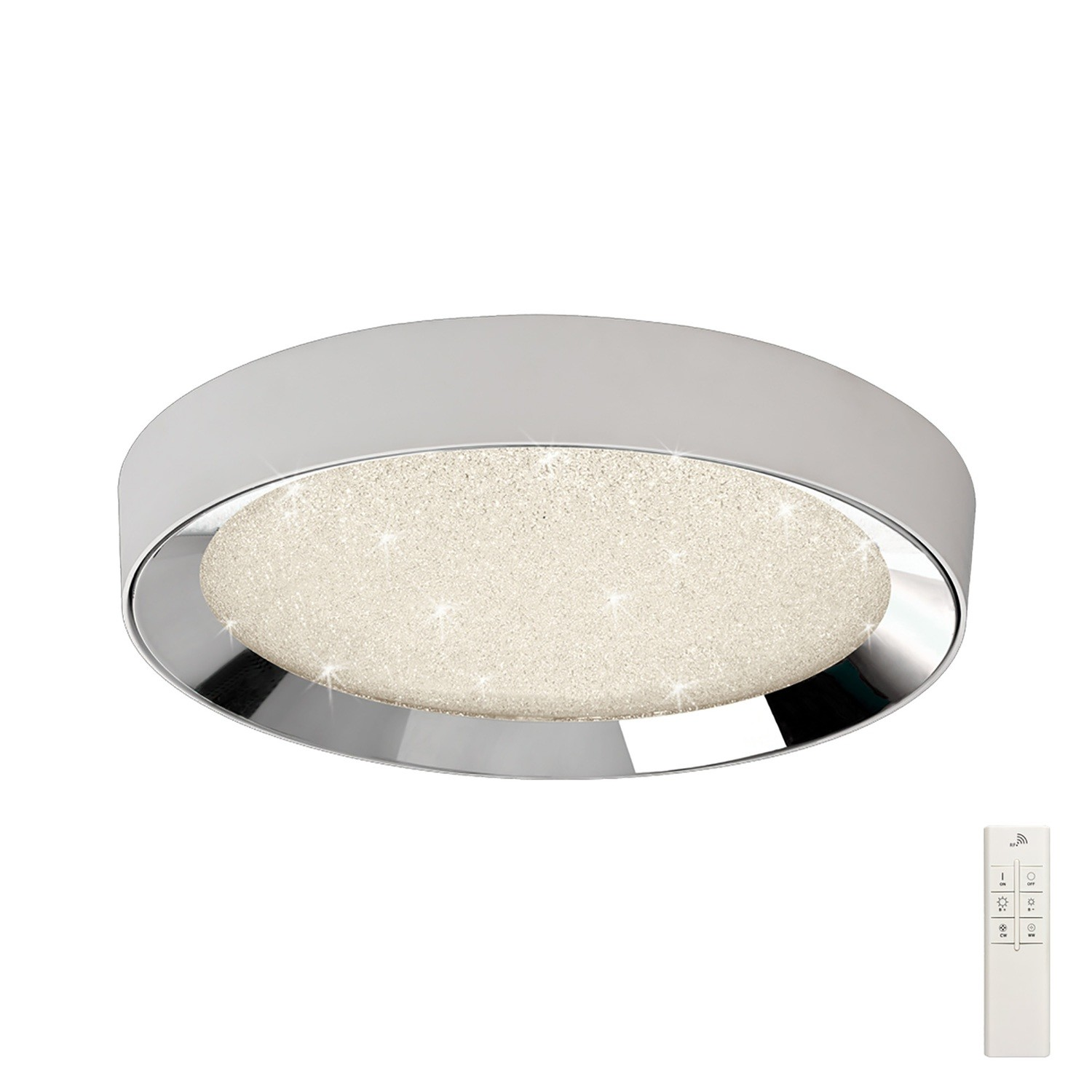 Male Flush 65cm Round 40W LED 3000-6500K Tuneable, 3200lm, Remote Control Chrome/ Acrylic