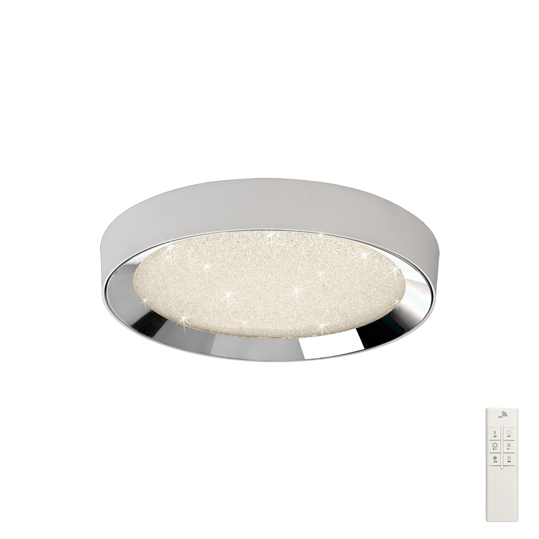 Male Flush 50cm Round 40W LED 3000-6500K Tuneable, 1920lm, Remote Control Chrome/ Acrylic