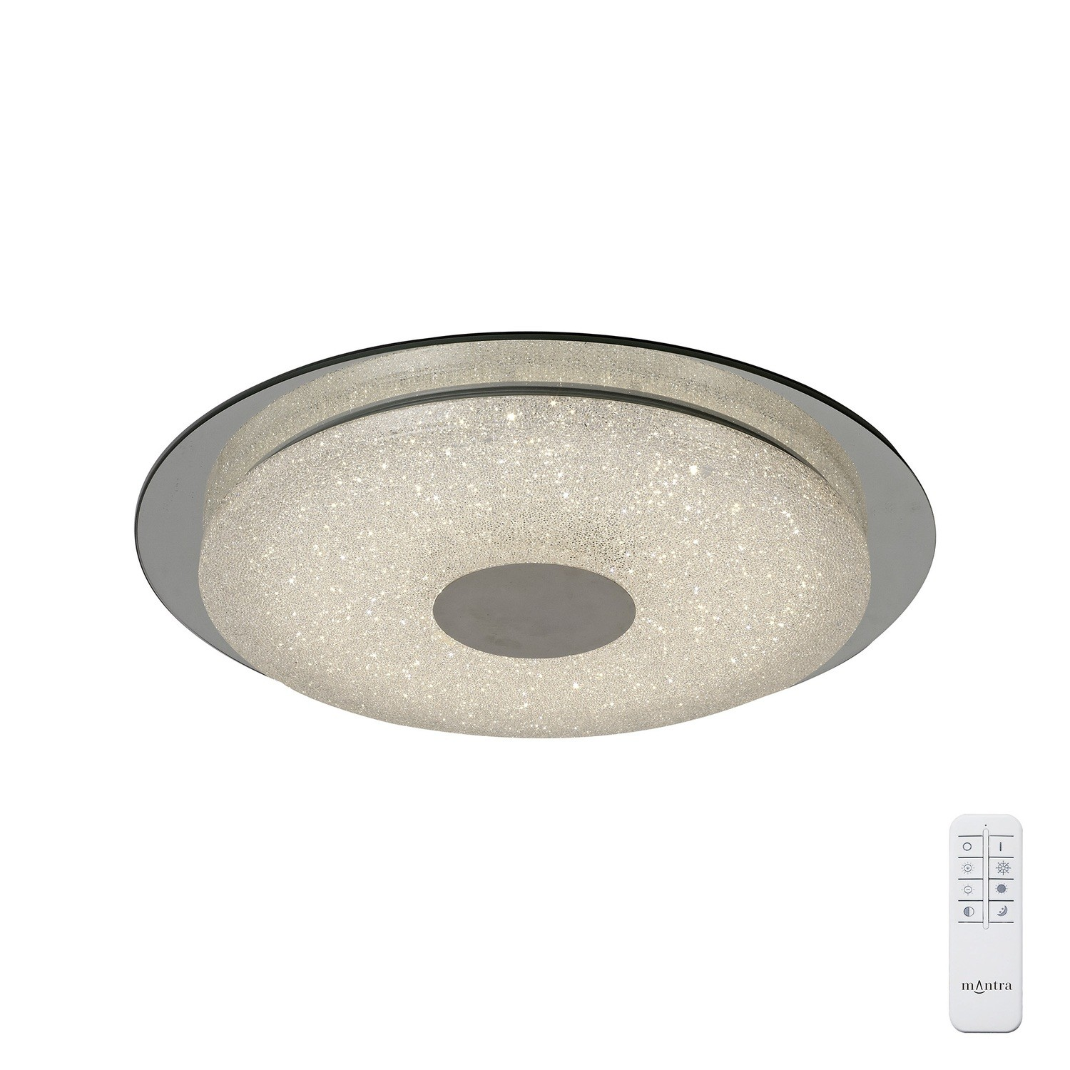 Virgin Ceiling 45cm Round 18W LED 2700-6500K Tuneable, 1680lm, Remote Control White/ Diamond