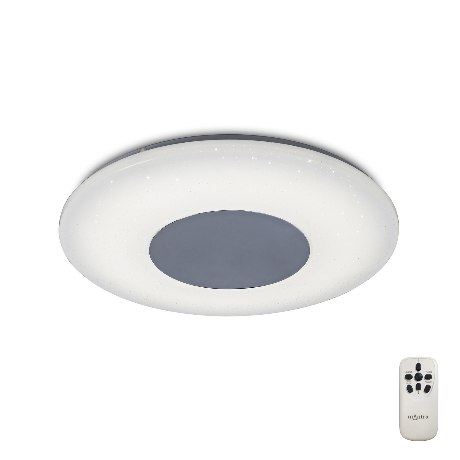 Reef Ceiling 45cm Round 48W LED 3000-6500K Tuneable, 3500lm, Remote Control Chrome/ White, 3yrs Warranty