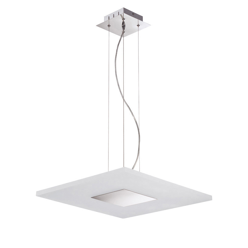 Notte Pendant 28W LED Square 3000K, 1700lm, Polished Chrome/Frosted Acrylic, 3yrs Warranty